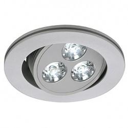 TRITON 3 LED encastré. rond. gris argent. 3x1W LED 3200K. orientable