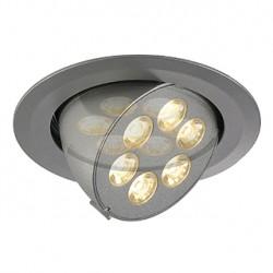TRITON 6 GIMBLE encastré. rond. gris argent anodisé. 6x 1W LED blanc chaud. orientable