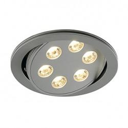 TRITON 6 encastré. rond. gris argent anod.. 6x3W LED blanc neutre. orientable